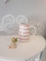 Krug klein weiss mit rosa Streifen