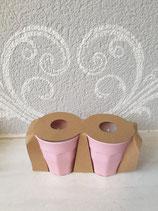 Melamin Becher klein mit Kerze rosa