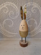 Hase Holz stehend Gold