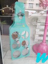 Flaschenständer mit Flaschenöffner türkis