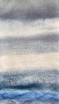 Mund-Nasenbedeckung blautöne-grau gestreift