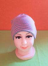 Beanie short rosa-gestreift/grau KU 46/48