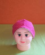 Beanie short Punkte-pink/grau-melliert KU 40/42