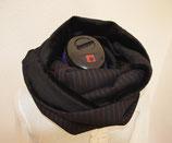 Loop-Schal schwarz/rot gestreift