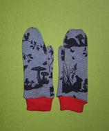 Handschuhe Waldtiere/rot lang Gr. 1
