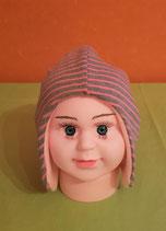 Ohrenmütze gestreift/rosa KU 40/42