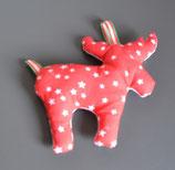 Weihnachtlicher Elch rot/weiß Sterne