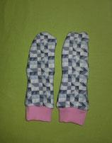 Handschuhe Dreiecke grau/rosa lang Gr. 2