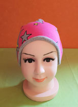 Beanie long Sterne-pink/grau KU 49/51