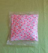 Dinkelkissen Herzen/rosa mit Hülle