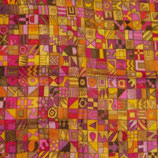"""Seidentuch """"Abstract boxes"""" gelb/gold/rosa"""