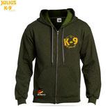 """K9 Pullover mit Zipp und Kapuze, """"Moos"""""""