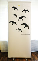 Vogelmotiv Aufsteller 85x200 mit praktischer Tragetasche
