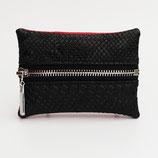 Porte-monnaie (simili) perlé (rouge ou noir au choix) - zip au milieu