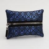 Porte-monnaie, motifs géométriques (bleu ou bronze au choix) - zip au milieu
