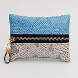 Porte-monnaie (simili) imitation dragon gris perle et bleu ciel ou gris perle uni - zip au milieu
