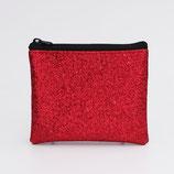 Porte-monnaie femme (simili) lurex rouge - zip en haut