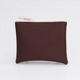 Porte-monnaie végan grainé chocolat, gros zip nylon (verso à choisir) - zip en haut
