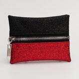 Porte-monnaie (simili) lurex rouge et noir (couleur du dos au choix) - zip au milieu