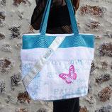 Sac femme en tissu recyclé, simili dragon blanc et turquoise, fausse fourrure, lin - Modèle Jeanny