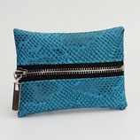 Porte-monnaie (simili) imitation dragon turquoise - zip au milieu