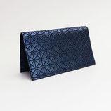 Porte-chéquier format portefeuille (simili), motifs géométriques bleus