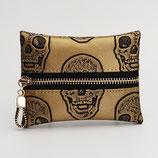 Porte-monnaie (simili) têtes de mort bronze (et ivoire au choix) - zip au milieu