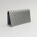 Porte-chéquier format portefeuille (simili), motifs géométriques argent