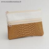 Porte-monnaie végan (simili) 3 compartiments - imitation dragon caramel et perlé ivoire