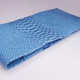 Porte-chéquier format long classique, simili dragon bleu ciel
