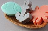 3 Gästeseifen / maritim, vegan aus der Provence / martime mini shaped soaps