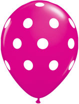37225 Big Polka Dots Wild Berry  - Latexballon rund