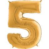 Zahl 5 Folienballon gold (66 cm)