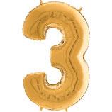 Zahl 3 Folienballon gold (66 cm)