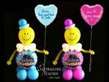 Happy Birthday Luftballon-Smiley mit Wunschtext