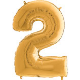 Zahl 2 Folienballon gold (66 cm)