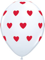 76928 Big Hearts White - Latexballon rund