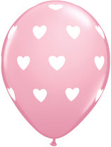 27051 Big Hearts Pink - Latexballon rund