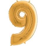 Zahl 9 Folienballon gold (66 cm)