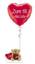 Heliumherz mit Teddy Bär - personalisiert