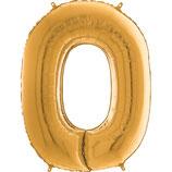 Zahl 0 Folienballon gold (66 cm)