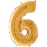 Zahl 6 Folienballon gold (66 cm)