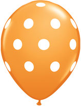 18064 Polka Dots Orange - Latexballon rund