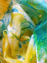 Seidenschal            grün-gelb  handgearbeitetes Unikat  Nr. 9