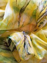 Seidenschal            olivegrün-gelb  handgearbeitetes Unikat  Nr. 4