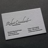 100 Stück individuelle Letterpress Visitenkarten einfarbig mit Farbschnitt.