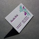 100 Stück individuelle Letterpress Visitenkarten zweifarbig mit Farbschnitt.