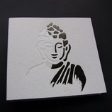 """Notizbuch """"Buddha"""" weiß und anthrazit metallic geprägt."""