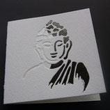 """Karte """"Buddha"""" weiß und anthrazit metallic geprägt."""