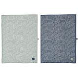 Geschirrhandtuch 2er Set Baumwolle mint/ dunkel blau